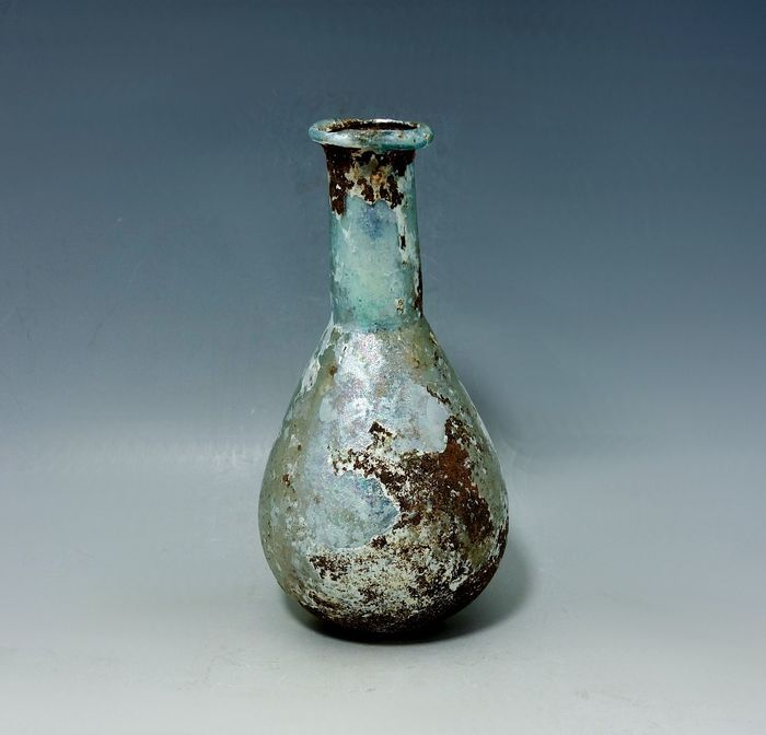 Roman Glass Flask With A Silvery Iridescence - 127mm height