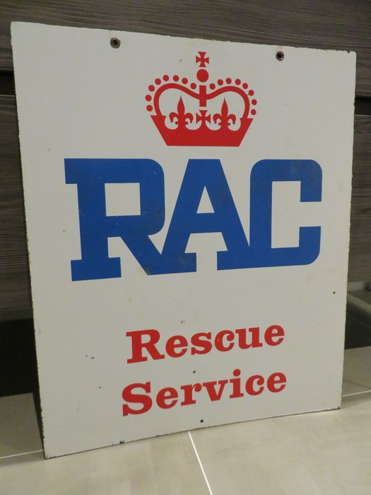 Preview of the first image of Sign - RAC - Emaille Reclamebord - Dubbelzijdig.
