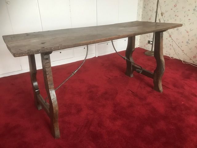 Preview of the first image of Table - Iron (wrought), Walnut - circa 1900.