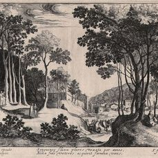 Hendrik Hondius (1573-1650), Simon Frisius (1580-1628) - Landscape with the healing of the bleeding woman - First state before the number