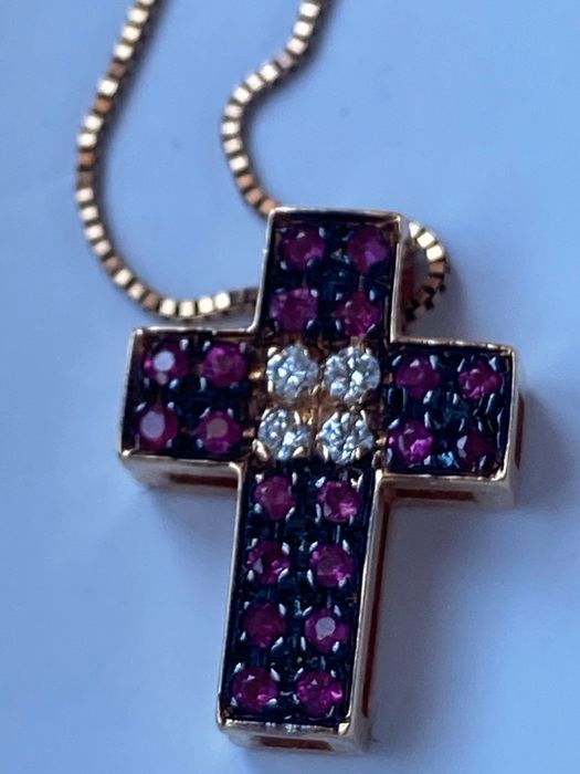 Preview of the first image of 18 kt. Pink gold - Necklace with pendant Ruby.