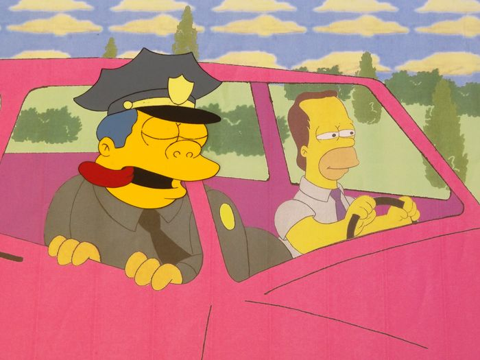 The Simpson - Production cel hand made head + copy background -  Police Chief Wiggum - Exemplaire unique