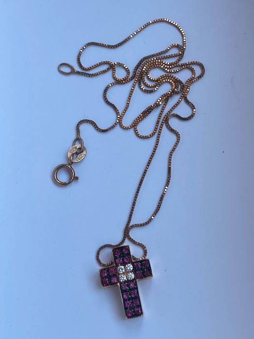 Image 2 of 18 kt. Pink gold - Necklace with pendant Ruby