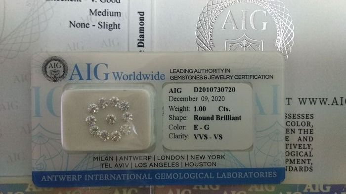 11 pcs Diamantes - 1.00 ct - Brillante - E, F, G - VS1, VS2, VVS1, VVS2