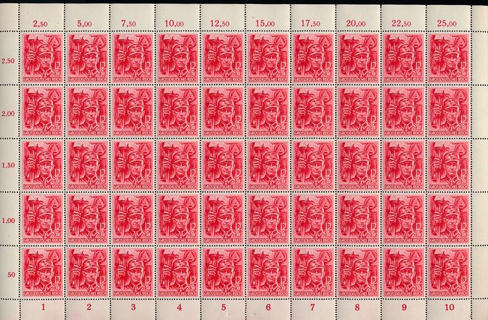 Duitse Rijk 1945 - SA / SS - two complete counter sheets with complete sheet margin - Michel Nr. 909/910 (50)