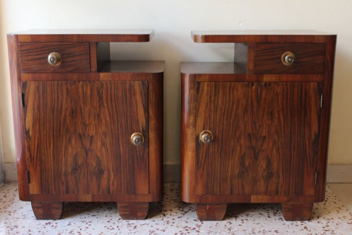 Preview of the first image of Art Deco bedside tables in Olive Burl and various precious woods.