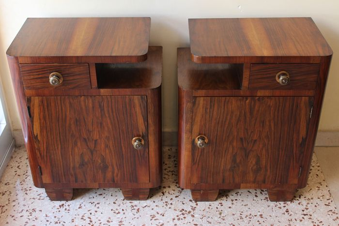 Image 3 of Art Deco bedside tables in Olive Burl and various precious woods