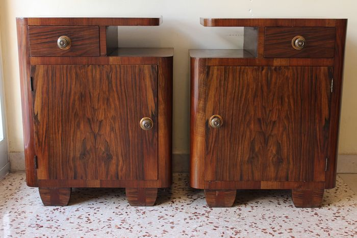 Image 2 of Art Deco bedside tables in Olive Burl and various precious woods