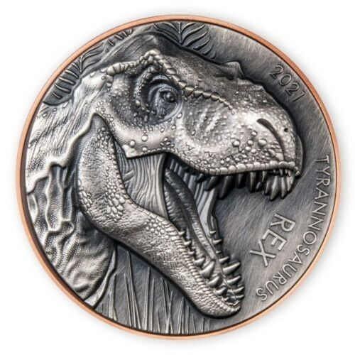 Vanuatu. 10 Vatu 2021 T - REX Silver & Copper Antique finish - 155 gr with COA