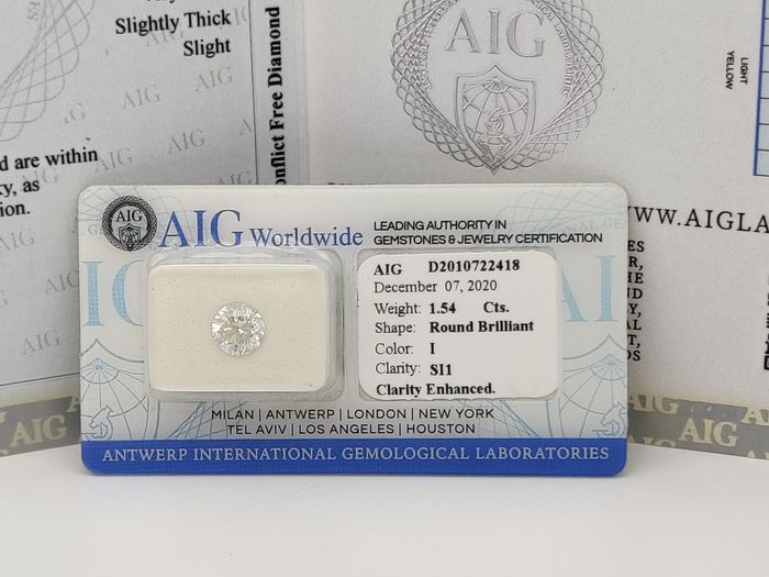 1 pcs Diamant - 1.54 ct - Brillant, Rond - I - SI1
