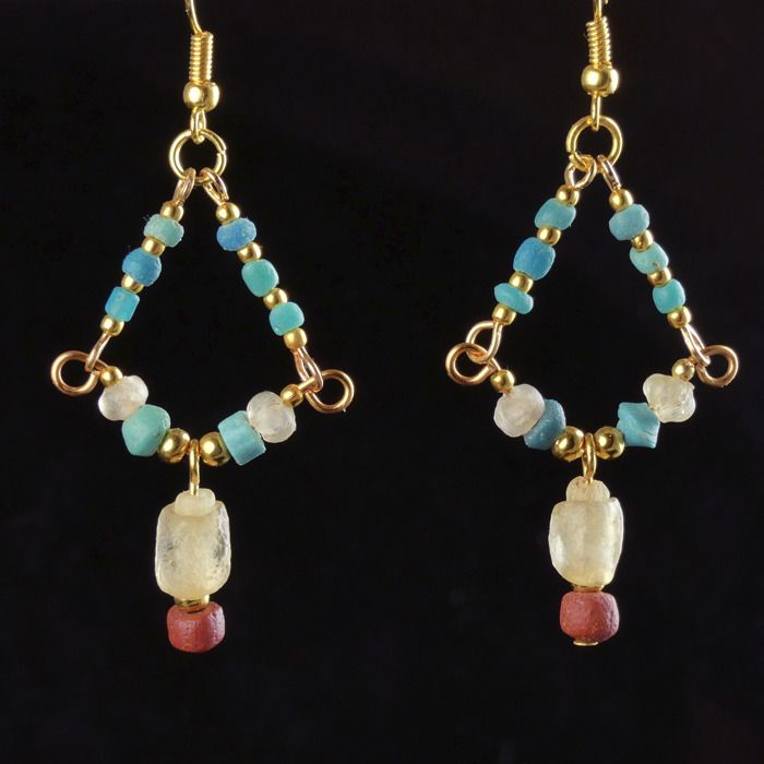 Ancient Roman Glass Earrings with turquoise, red and semi-translucent glass beads - (1)