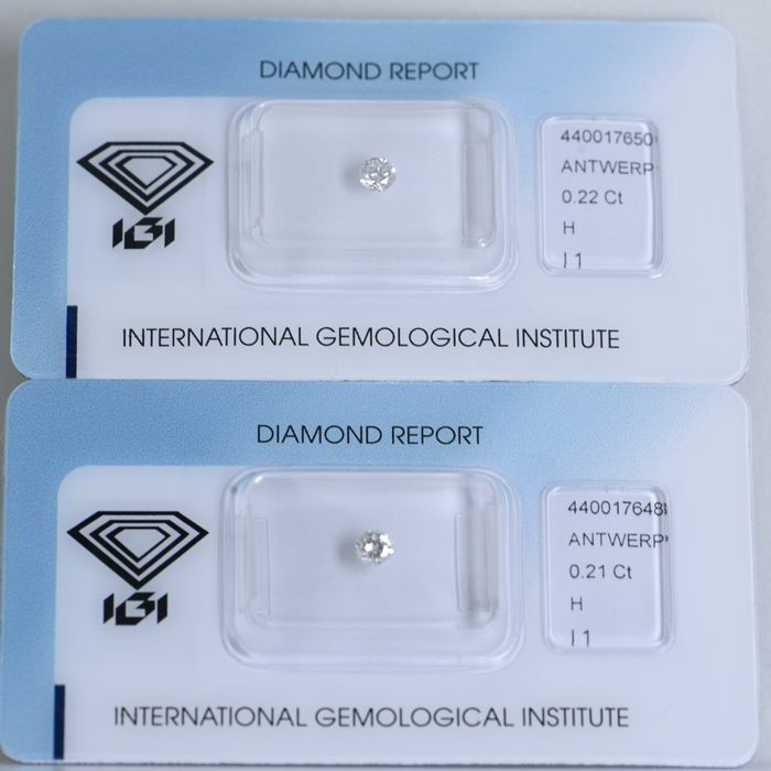 2 pcs Diamant - 0.43 ct - Rond - H - I 1     IGI Antwerp Certified  ** No Reserve Price **