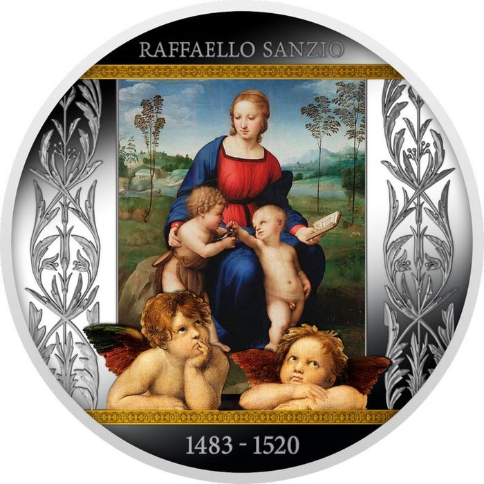 "Cameroon. 500 Francs 2020 - ""MADONNA OF THE GOLDFINCH"" - Raffaello Sanzio - 17.50 gr"