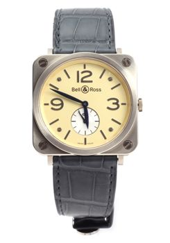 Bell & Ross - BR S White Gold Ivory dial Crocodile strap - BRS-70-W - Heren - 2011-heden