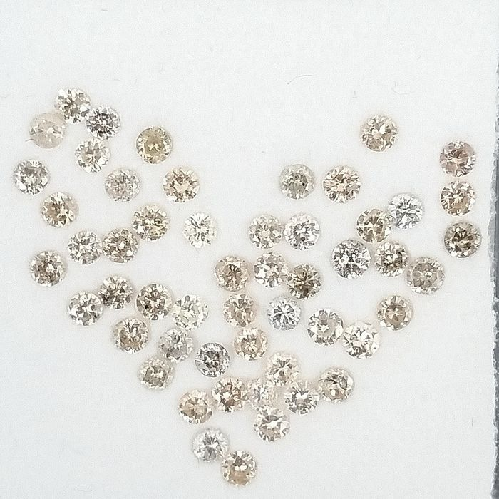 53 pcs Diamants - 1.00 ct - Rond - Mix Colors - I1, SI1, SI2, ***No Reserve Price***