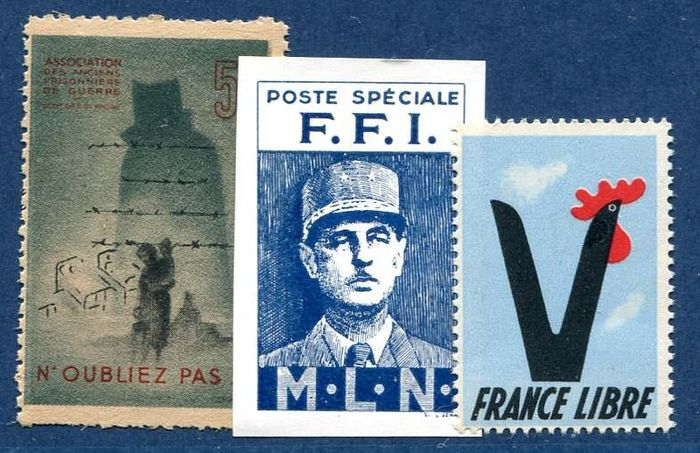 Frankrijk - Liberation issue, De Gaulle, MLN 4b and two vignettes - Mayer 4b Mayer