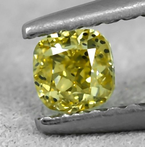 Diamant - 0.34 ct - Coussin - Natural Fancy Light Brownish Yellow - Si2 - NO RESERVE PRICE