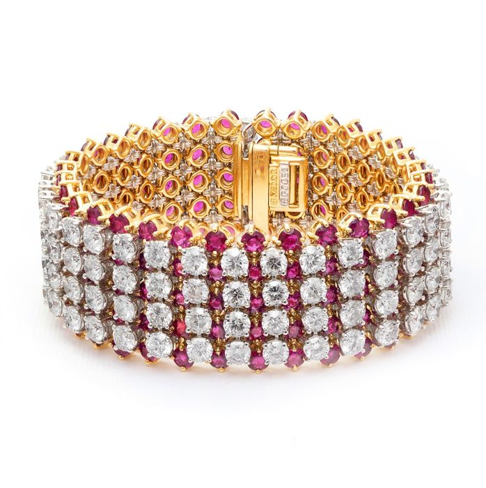House Of R&D - Gelbgold, Platin - Armband - 32.00 ct Diamant - 35 ct Ruby