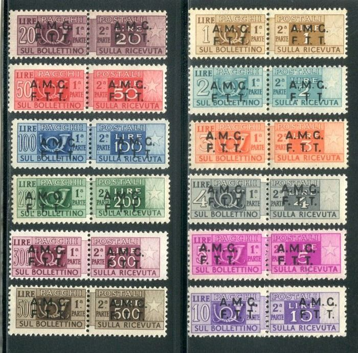 Triest - Zone A 1947/1948 - AMG-FTT - Postal parcels overprinted on two rows - Sassone NN. 1/12
