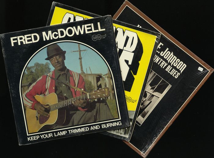 Mississippi Fred Mc Dowell, Herman E. Johnson and others - Lot of three rare Delta and Harmonica Blues records on this Arhoolie blues label - Diverse titels - LP Album - 1972/1975