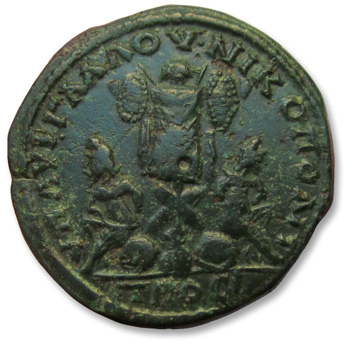 Roman Empire (Provincial). Septimius Severus (AD 193-211). Æ 27mm pentassarion - struck under Aurelius Gallus, legatus consularis,  Moesia Inferior, Nikopolis - large bronze with interesting reverse: trophy & captive -