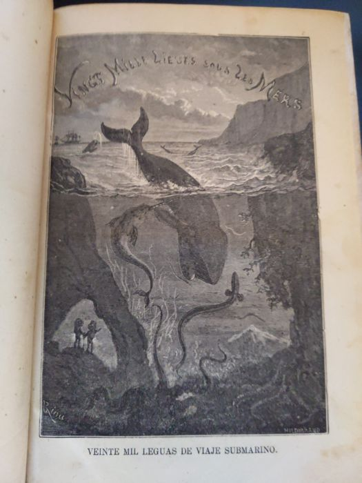 Jules Verne - Viente Mil Leguas De Viaje Submarino [Very first edition of this Verne classic, pre-french edition] - 1869