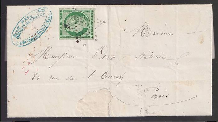 France 1853 - Ceres 15c green, on whole letter - Yvert 6