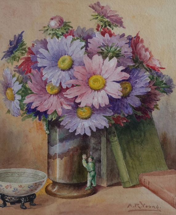 A R Young (XX) - A still life of a vase of flowers