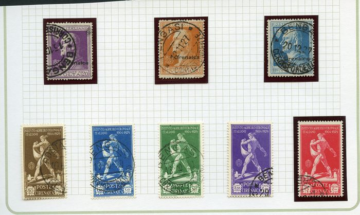 Italian Cyrenaica 1910/1943 - stamps of the period - used and mounted on handcrafted sheets