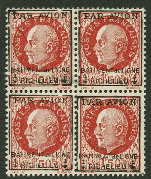France 1943 - 1 franc 50 brown-red, block of 4 - Yvert Poste Aérienne Militaire 3