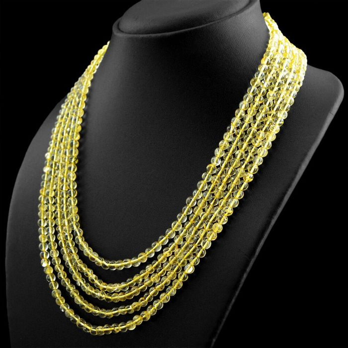 5 strand necklace in Citrine tested & untreated ... 5mm AAA pearls ... 386 Carats - 72 g