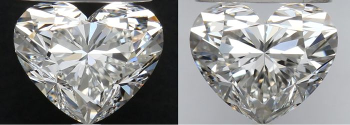 2 pcs Diamants - 0.81 ct - Cœur - G, H - VS2, VVS1