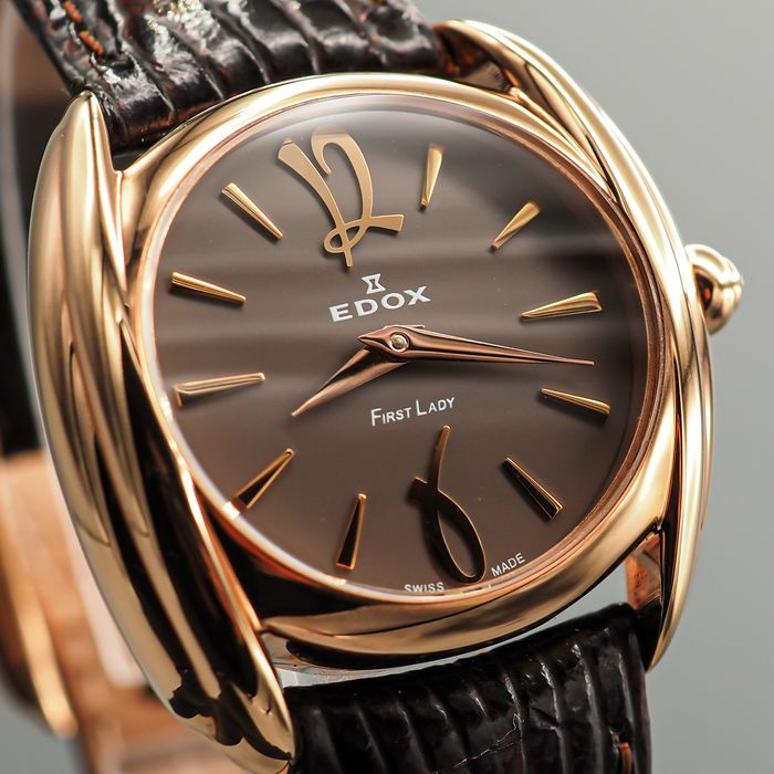 """Edox - First Lady """"NO RESERVE PRICE"""" - 21230 37R BRIR PLAQUE - Mujer - 2000 - 2010"""