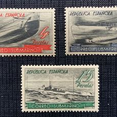 Spanien 1938 - Submarine post, stamps from the mini-sheet - Edifil S/h 781