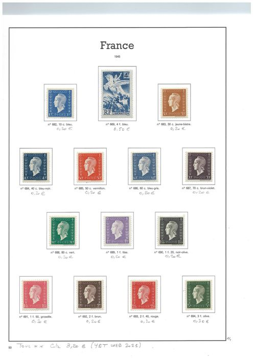 Frankrijk 1945/1961 - Semi-classic and modern stamps - Yvert 2021