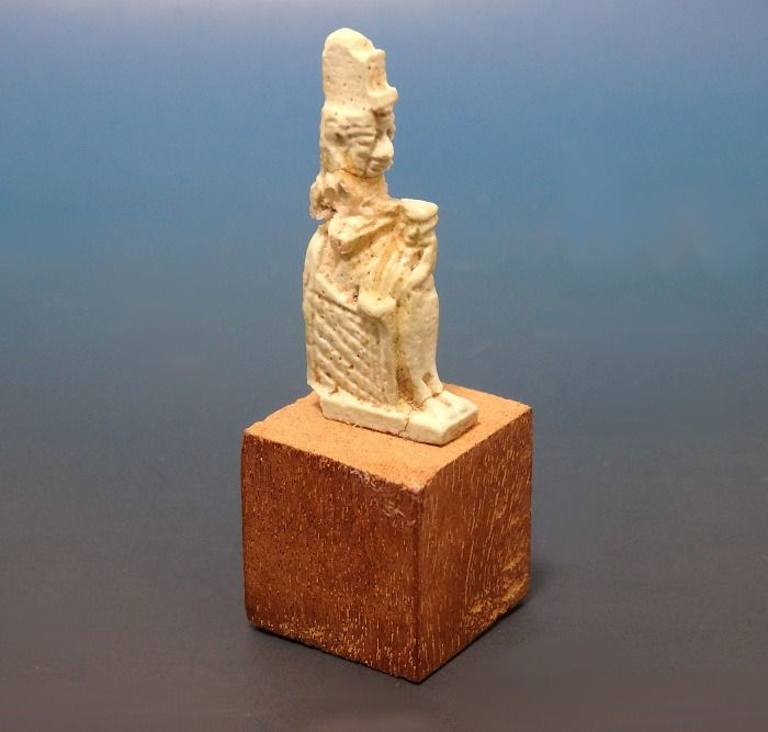 Ancient Egyptian Faience Amulet of Isis Suckling Child Horus-  38mm tall