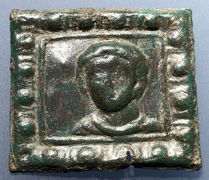 Ancient Roman Bronze Exclusive Plaque with Impressive Facing Portrait of a PRINCE wearing Torque and Toga Nicely Framed