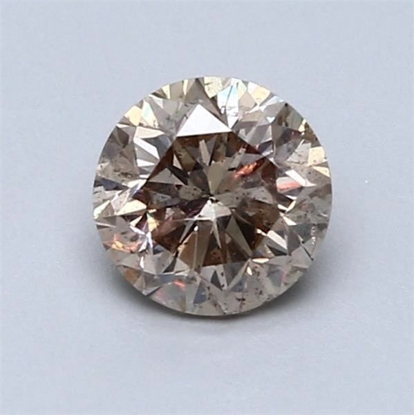 1 pcs Diamant - 1.00 ct - Rond - Marron clair fantaisie - SI1 (clarity enhanced)  - NO RESERVE PRICE!