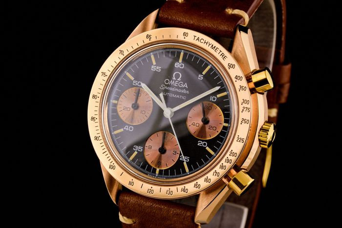 Omega - Speedmaster Reduced 18K Pink Gold Chronograph Very Rare! - 175.0033 - Homme - 1990-1999