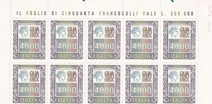 Italie 1978/1987 - Block of ten stamps, 4,000 lire high values, thick paper - Sassone 1275Cb