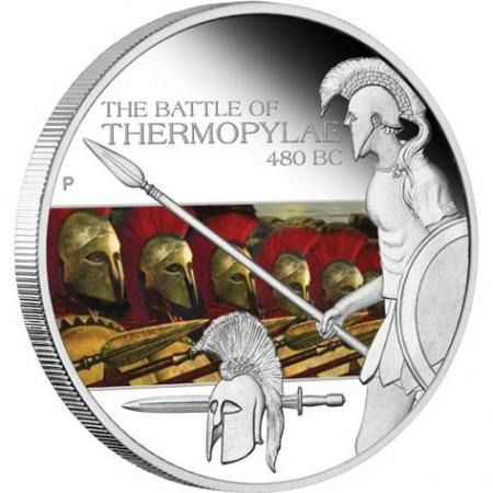 Tuvalu. 1 Dollar 2009 Proof 'Famous Battles in History - The Battle of Thermopylae 480 BC' - 1 Oz