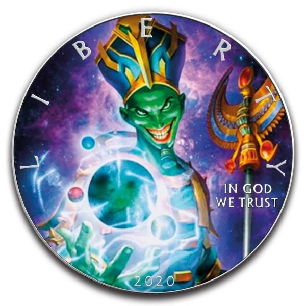 United States. 1 Dollar 2020 Silver Eagle Egyptian Joker Colorized Coin - 1 oz
