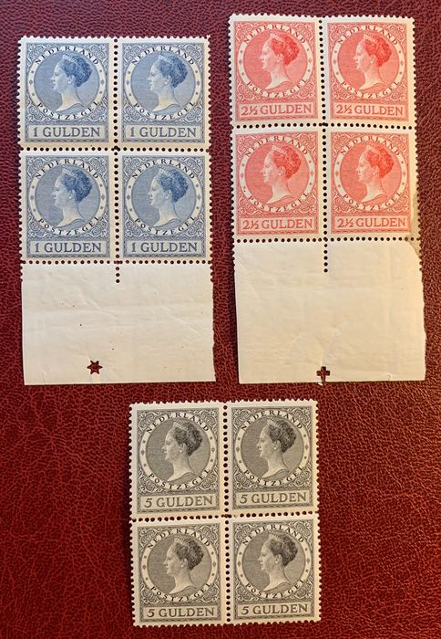 Pays-Bas 1926/1927 - Queen Wilhelmina type 'Veth' in blocks of four - NVPH 163A/165A
