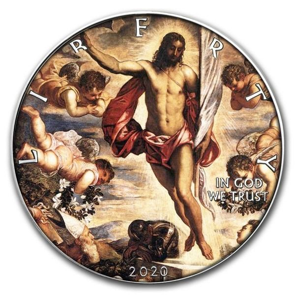 United States. 1 Dollar 2020 Silver Eagle Tintoretto Jesus Painting Coin - 1 oz