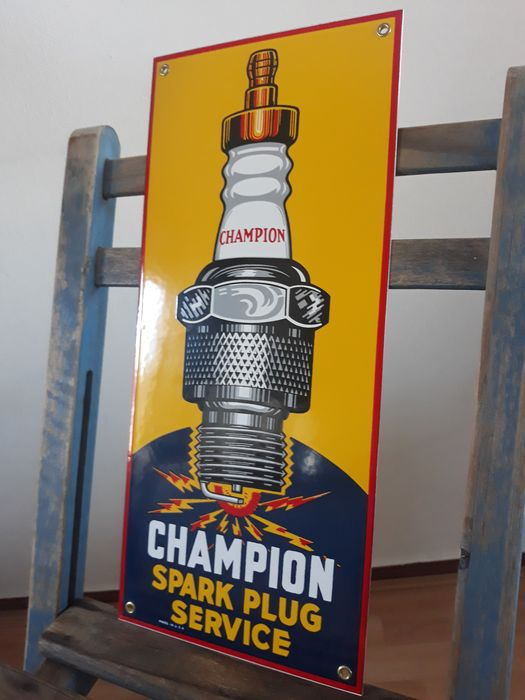 Señal - Champion Spark Plug Service reclamebord, 1980, Made in U.S.A. - Champion - 1970-1980
