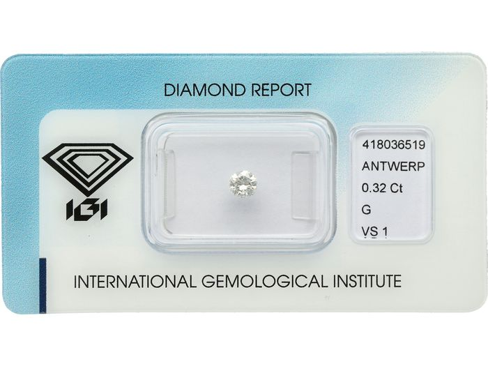 1 pcs Diamante - 0.32 ct - Brillante - G - VS1 ***No Reserve***