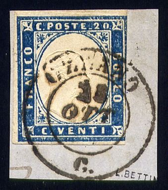 "Italian Ancient States - Sardinia - 20 cents ultramarine light blue on fragment with cancellation of ""Ozzano"" (pt R1) - Sassone N. 15Dc"