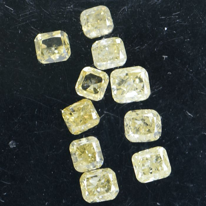 10 pcs Diamant - 0.81 ct - Coussin - Natural Fancy Mix Yellow - SI1 - SI2  ** No Reserve Price **