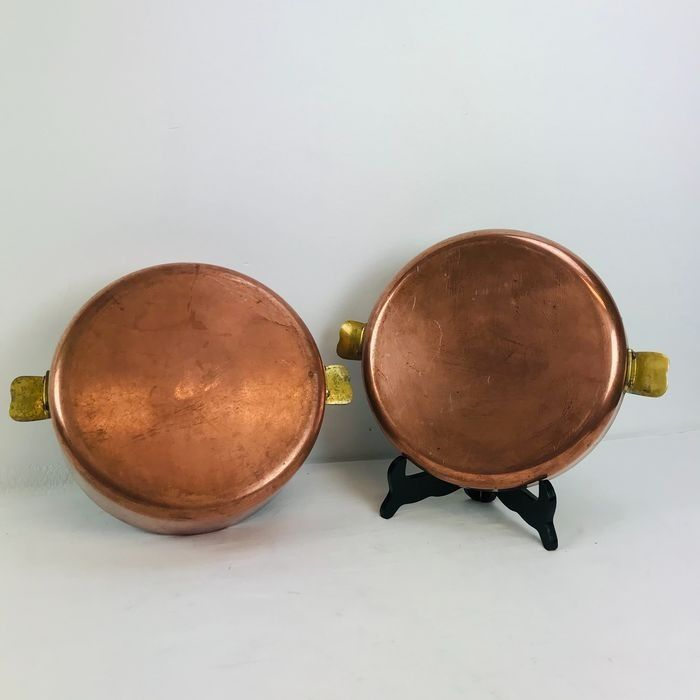 Authentic high copper pan with lid and brass handles (3 kg) - Brass, Copper, Inox