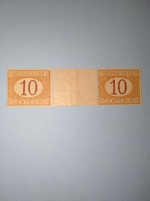 Italien Königreich 1890/1894 - Taxes, 10 cents orange and carmine, pair with gutter margin - Sassone N. 21
